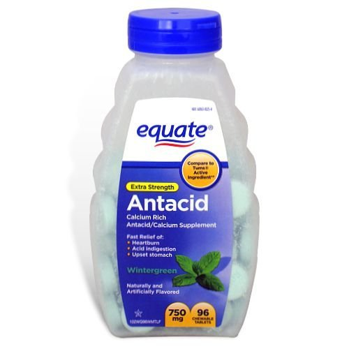 Equate Extra Strength Antacid Wintergreen 750 mg 96 Chewable Tabs Compare to Tums EX (2)