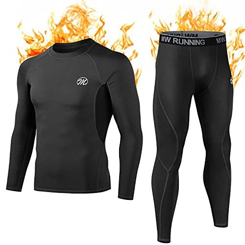 MEETWEE Thermounterwäsche Funktionsunterwäsche Herren, Skiunterwäsche Winter Suit Atmungsaktiv Lange Thermo Unterwäsche Set, Unterhemd + Unterhose, schwarz, size: S