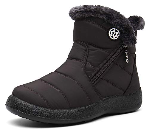 Zapatos Invierno Botas de Nieve para Mujer Hombres Botines Moda Calentar Forrado Botas Tacon Zapatillas Planas 2021 Impermeable,39 EU,Café a