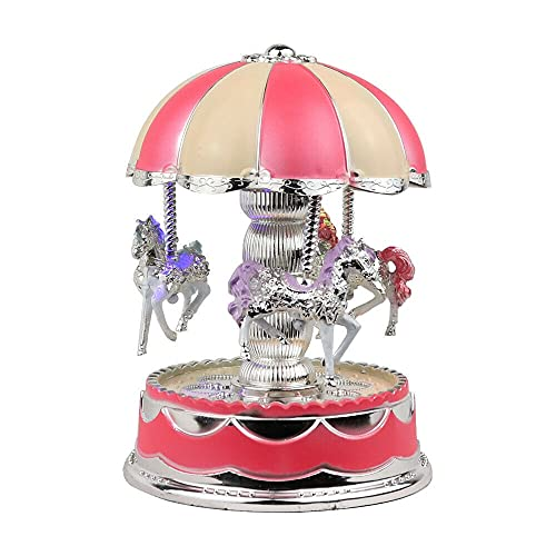 BJYX Kid Birthday Toys for Girls Music Box Merry-Go-Round LED 6 7 8 9 10 11 Year Old (Color : Pink)