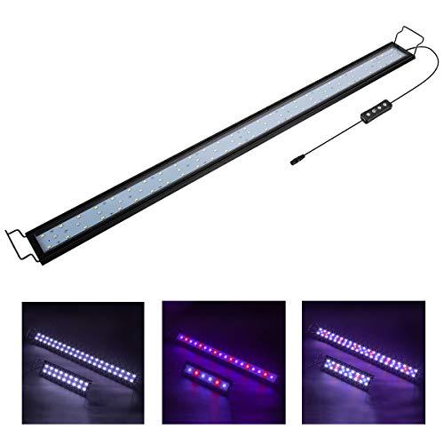 Hygger 9W-32W Aquarium LED-verlichting, Aquarium LED-lamp met timer, dimbaar, LED aquariumlicht met verstelbare houder voor 28cm-137cm aquarium vis tank vis plant (wit & blauw & rood licht) (25 W)