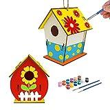 HOSPAOP DIY Casa de Pájaros de Madera 2Pcs, Casa de Pájaros Manualidades Kit, Casas de Pájaros para Niños y Niñas, sin Acabado para Pintar Casas de Pájaros Colgantes.