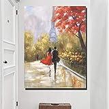 SADHAF Classic Style Landscape Poster Lovers Walking In The Streets Of Paris Impresión en lienzo Pintura Living Room Art Decoration A5 60x90cm