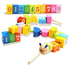 MULTIFUNCTIONAL TOY: If you are looking to introduce your toddlers to the basic concepts of color number and shape, then the lacing beads for toddler is a good choice. Toddlers can use wood blocks to form different shapes, as well as learn colors and...