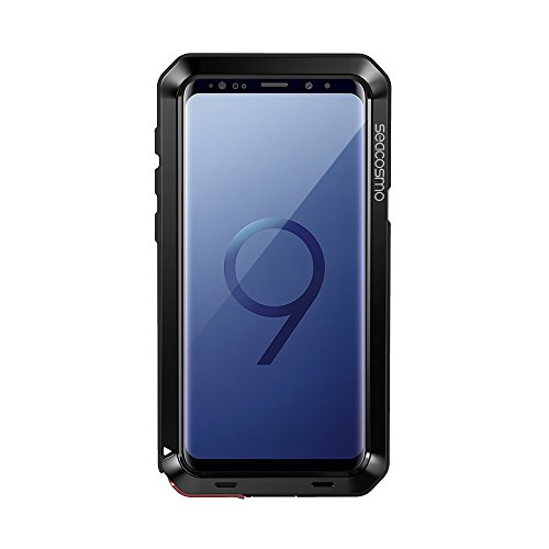 seacosmo Samsung Galaxy S9 Plus Hülle, Tough Armor Aluminium S9 Plus Case Doppelte Schutz Stoßfest Handyhülle Outdoor Schutzhülle für Galaxy S9+, Schwarz