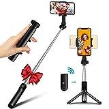 Bovon Perche Selfie, Mini Trepied Smartphone Extensible Selfie Stick Bluetooth avec Télécommande, 360° Rotatif Bâton Selfie Compact & Ultra-Léger Compatible avec iPhone, Samsung, Huawei, Xiaomi etc