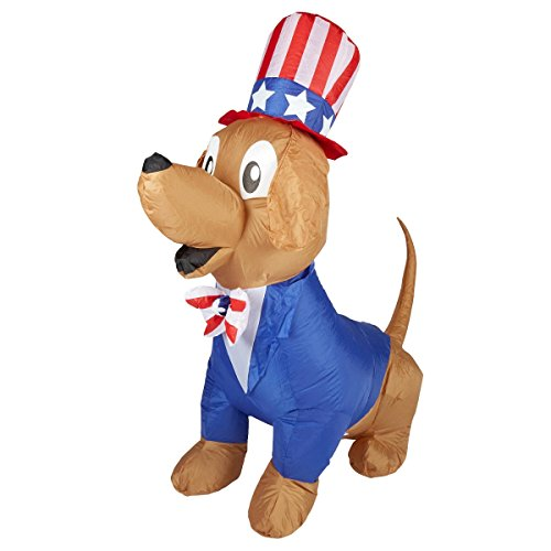 Patriotic Inflatable 5' Uncle Sam Puppy Dog By Gemmy