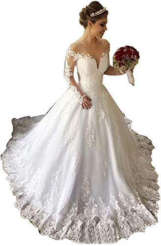 Meganbridal Princess Women's V Neck Long Sleeve Ball Gown Lace Applique Wedding Dresses with Train for Brides Ivory
