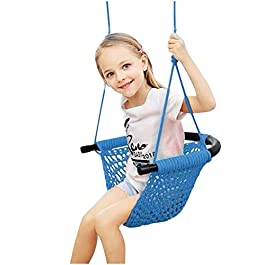 Aimik 2020 Kids Swing, Swing Seat for Kids with Adjustable Ropes Heavy Duty Rope Play Secure Children Swing Set Hand-kitting Rope Swing Seat Playground Platform Swing