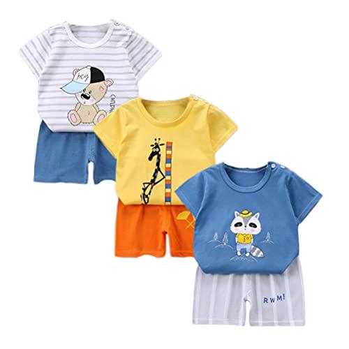 XM-Amigo Juego de 3 pantalones cortos de manga corta para bebé, de media manga, pack de 6 (con/sin hebilla de hombro) Blanco, amarillo y azul 4-5 Años