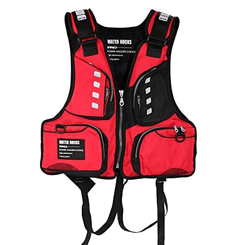 MoYoTo Adultos Nadar Chalecos Salvavidas Multifunción De Alta Flotabilidad con Chaleco Salvavidas Whistle para Nadar, Pescar Y Surfear,Rojo,One Size