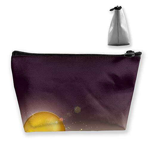 Golden Shiny Glow Sphere Sac de rangement portable pour cosmétiques, pinceaux de maquillage, trousse de toilette