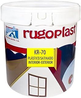 Pintura plástica blanca satinada interior/exterior muy lavable ideal para decorar tu casa con un poco de brillo (salon, baño, dormitorios, cocina.) KR-70 Blanco (15 L) Envío GRATIS 24 h.