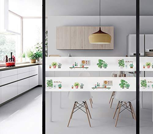 Sticker van glas voor tuin Botanico voor deur van glas, decoratief, sticker voor op kantoor, voor schuifdeuren van glas voor badkamer, film, 15 x 300 cm