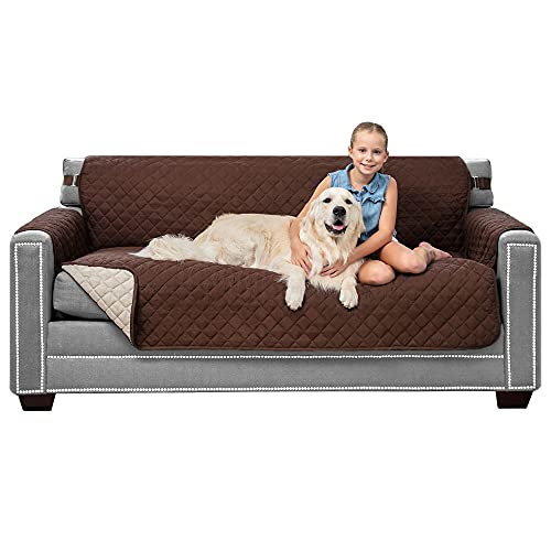 Sofa Shield Patent Pending Sofa Slipcover, Reversible Easy Fit, 70' Seat Width, Tear Resistant Microfiber Furniture Protector with Straps, Soft Durable Couch Cover, Pet Dogs, Kids, Chocolate Beige