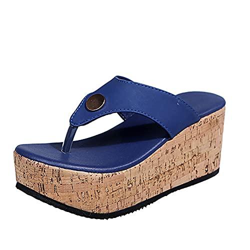QQYXCA Sandalias de cuña deslizantes para mujer, sandalias de verano con puntera abierta, zapatos cómodos de viaje al aire libre, zapatos de fiesta de ajuste ancho, azul, 40