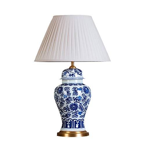 SZQ-Lámpara de Mesa Interior Multiusos lámpara de Mesa, Dibujado a Mano patrón de Porcelana Azul y Blanca lámpara de Escritorio Plisado Pantalla Base de Cobre Lectura lámpara E27, para iluminación /