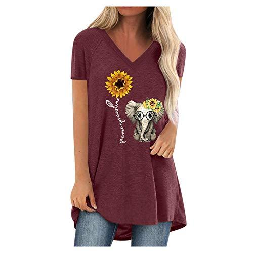 Routinfly Camisetas de verano para mujer, camisetas de manga corta, estilo vintage, tallas grandes, con estampado en V, manga corta, Mujer, burdeos, extra-large