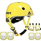 Lucky-M - Set di attrezzi protettivi per bambini, misura regolabile, con ginocchiere, gomitiere, polsiere per skateboard, ciclismo, hoverboard, scooter, Rollerblading (blu) (yellow)