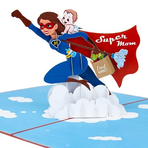 LIMAH® Pop-Up 3D Grußkarte/ Muttertagskarte, zum Muttertag, für Sie, Glückwunsch zur Geburt, Beste Mama /Super Mama mit Baby-Motiv/in Blau Rot