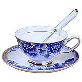 Copa de café Set-European Pequeña Taza de café de lujo y platillo Conjunto de té de oro Copa de cerámica clásica Copa de regalo B