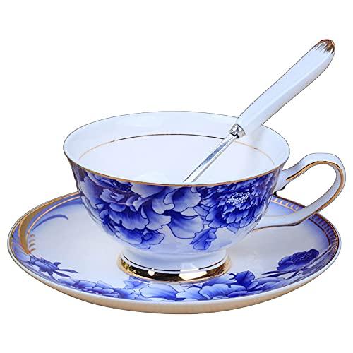 Juego de taza de café-Europea pequeña taza de café de lujo y platillo conjunto de oro taza de té clásico de cerámica regalo B