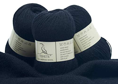 TEHETE Ovillo de lana, 100% Hilados de lana merino Hilo 3 Bolas x 50g para manta, suéter calcetín,...