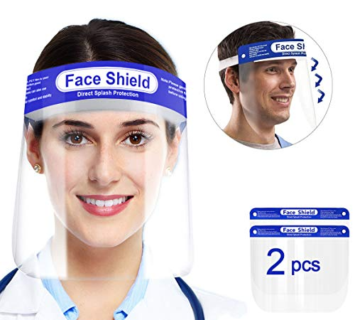 2 Pack Safety Face Shield, All-Round Protection Headband with Clear Wide Sunshade Anti-s-mog Lens, Lightweight Transparent Shield with Stretchy Elastic Band