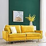 Sofá cama de 2 plazas, 180 cm, terciopelo, con reposabrazos, diseño moderno, para apartamento, habitación de invitados, habitación juvenil (amarillo)