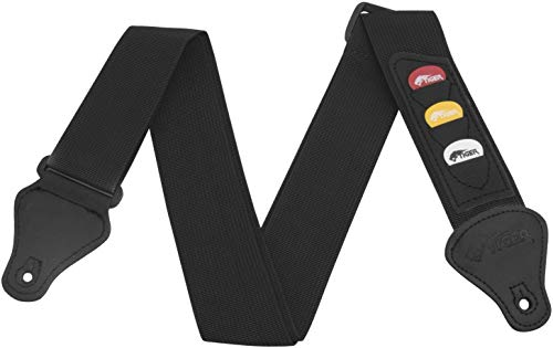 Tiger Guitar Strap with Pick Holders and Picks, Black