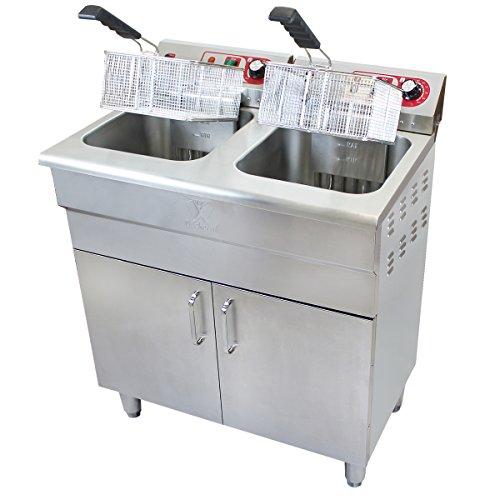 Beeketal 'BSF-320P' Profi Gastro Stand Doppel Fritteuse mit Unterschrank (2 x 16 L Volumen für max. 2 x 11 L Öl) Friteuse mit Fettablaufhahn im Schrank, 2 x 5000 Watt, 400V-50Hz Starkstrom Anschlüsse