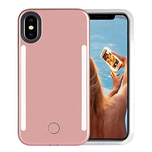 Wellerly Case for iPhone Xs, iPhone X Case, LED Illuminated Selfie Light Cell Phone Case Cover [Rechargeable] Dual Light Up Luminous Selfie Flashlight Case for iPhone X/XS 5.8inch (Rose Gold)