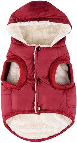 Komate Chaqueta de Invierno cálido para Perros Abrigo Grueso de Invierno Chaleco de Tela para Perros pequeños medianos Grandes (XXL (tamaño del Pecho 68 cm), Rojo)