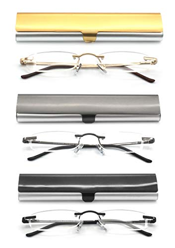 EYE ZOOM 3 Pack Rimless Reading Glasses with Slim Case for Men and Women, Black, Gold and Gunmetal, +1.50