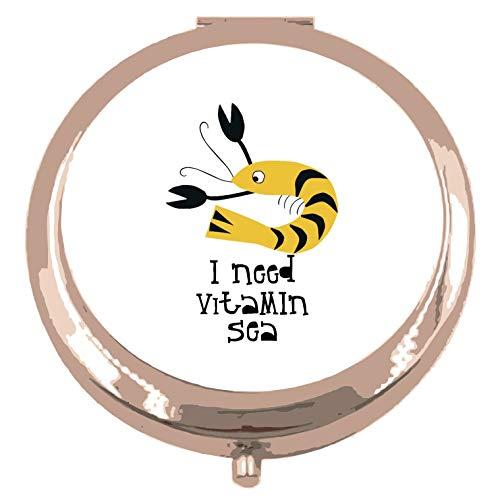 Recortar camarones Sealife Necesito vitamina mar declaración espejo de bolsillo compacto - oro rosa forma círculo redondo