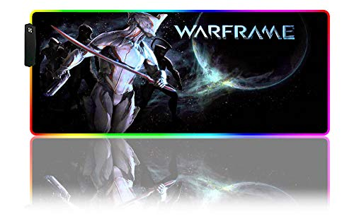 Mouse Pads Warframe RGB Gaming Mouse Pad LED Large Gaming XXL Non-Slip Rubber Waterproof Surface, Extended Desk Mat Office, Game, PC,(C) 27.55x15.74x0.15 inch