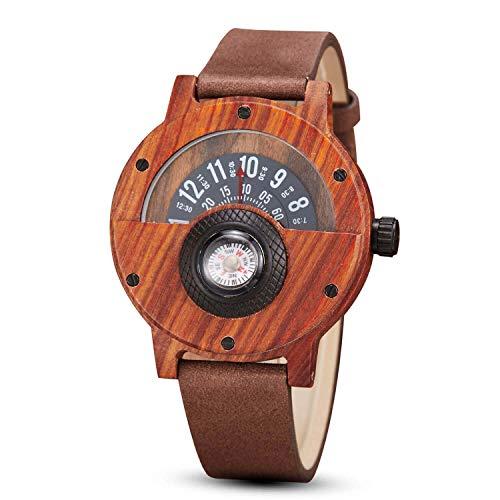GORBEN Compass - Reloj de madera para hombre, ligero, hecho a mano, madera natural, reloj deportivo, caja de regalo, # Gorben146, Correa