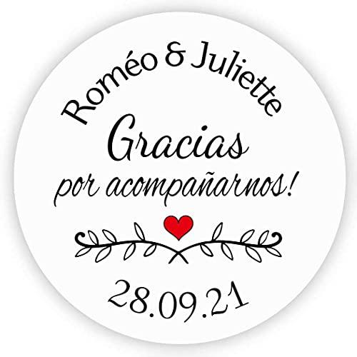 MameArt 50 STICKERS Pegatinas Personalizadas Boda Gracias por Acompañarnos Nombre, 4cm Etiquetas...