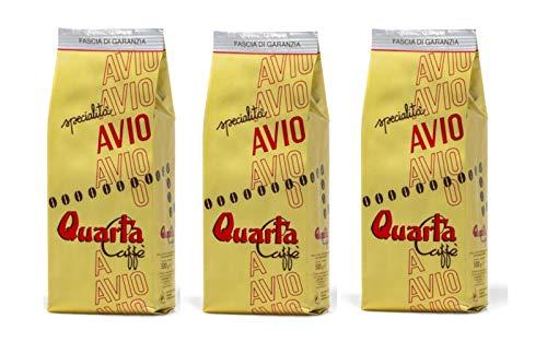 QUARTA Caffè Miscela AVIO ORO in GRANI 500gr 3 confezioni Miscela classica di selezionate varietà ARABICA Fine blend of coffee processed in Salento, Apulia, Italy Feine kaffeemischung aus Salento