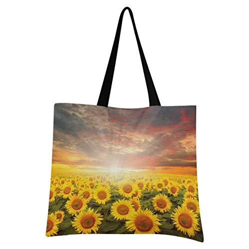 XIXIXIKO - Bolsa ligera de lona para la playa, con diseño de girasol, para mujeres, niñas, compras, gimnasio, playa, viajes, diario
