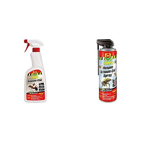 Compo Ameisen-Stop, Insektenspray mit Langzeitwirkung, 500 ml & Wespen Schaum-Gel-Spray inkl. Sprührohr, Sofort- und Langzeitwirkung, 500 ml