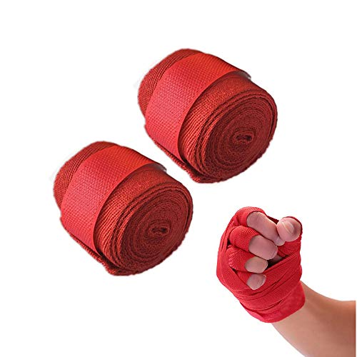 ICYANG 1 Paar Baumwolle Boxbandagen Boxing Gloves Verband Sport Wraps Muay Thai Kickboxen MMA Taekwondo Männer Frauen Handbandage Trainingshandschuhe, 2,5 m,Rot