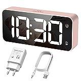 HERMIC Reloj Despertador Digital, LED Despertador con Cable USB, 0-100% Atenuador de Brillo, Pantalla Digital Clara Grande, Snooze, 12 / 24H, Alarmas Duales, Volumen Ajustable, Incluye Adaptador