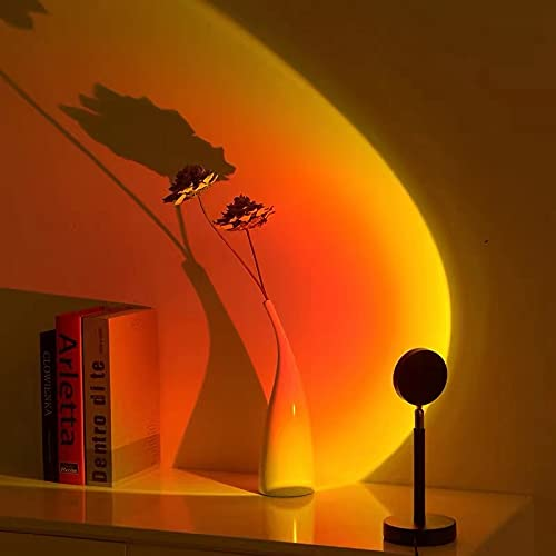 Lámpara de proyección de puesta de sol Lámpara de puesta de sol Control remoto 4 modos Luz de noche LED de conmutación de 16 colores para la decoración de la sala de estar y el dormitorio