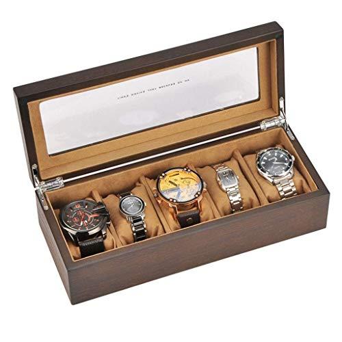 Caja de reloj de 5 rejillas, simple, retro, de madera, viajes en casa, mesa múltiple, colección de relojes mecánicos portátiles, caja de presentación de almacenamiento, caja de cajas universales
