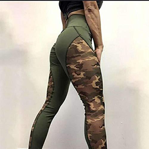 Yogabroek extra zachte legging met zakken voor dames,Sport camouflage legging, stretch hardlooplegging-Army_green_XL,Blouse met V-hals