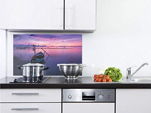 GrazDesign 200312 Keuken achterwand glas boot - spatbescherming keuken glas rust - wandpanelen keuken landschap 60x40cm