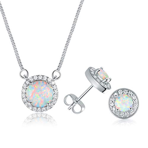DwearBeauty Women's White Gold Plated Opal Halo Pendant Necklace and Stud Earrings Jewelry Set