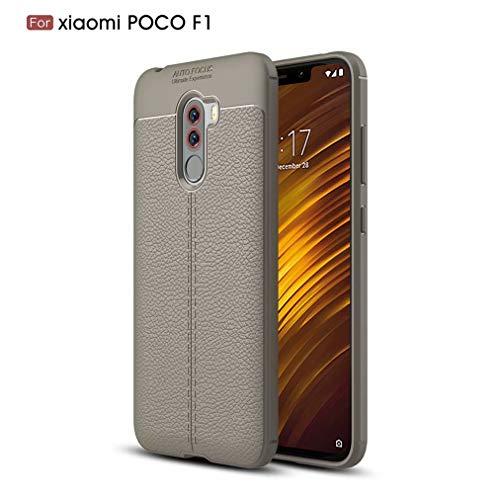 Qsdd Reemplazo para Xiaomi Pocophone F1 Funda Ultra Delgado Anti-Rasguños Carcasa de Telefono Soft TPU Silicone Anti-Huella Digital a Prueba de Golpes Caso-Gris