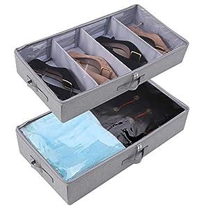 Recipientes de almacenamiento para ropa de cama debajo de la cama, tapa transparente, plegable, gris oscuro, paquete de 2